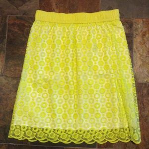 LIZ CLAIBORNE neon yellow circles skirt M (A9)